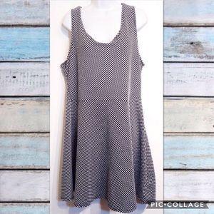 Plus Size Black White Polka Dot Fit & Flare Dress